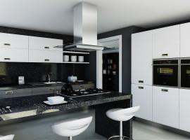 Cocina Grafito Blanco y Negro